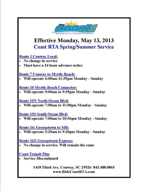 Spring Summer Schedule 2013